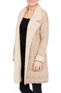Shearling Collar Knit Cardigan