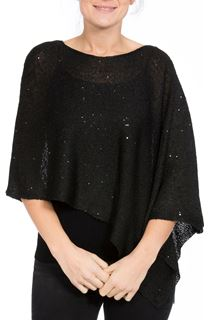 Sequin Knit Poncho - Black