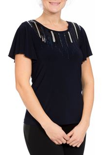 Embellished Short Sleeve Jersey Top - Midnight