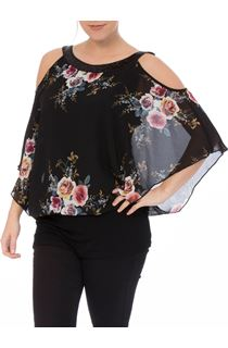 Floral Chiffon And Jersey Cold Shoulder Top