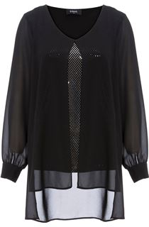Long Sleeve Chiffon Layer Spangle Top