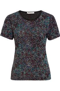 Anna Rose Jacquard Sparkle Short Sleeve Top