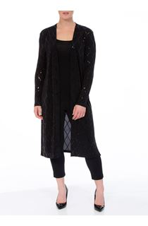 Long Sleeve Longline Open Sparkle Cover Up