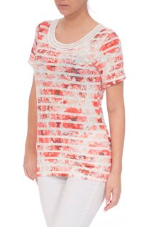 Anna Rose Embellished Stripe Short Sleeve Top