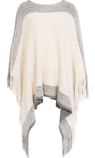 Tassel Trim Knitted Poncho