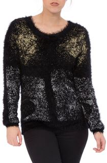 Metallic Eyelash Knit Long Sleeve Top