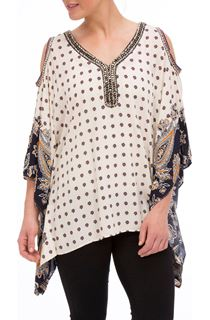Cold Shoulder Scarf Print Top