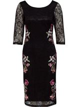 Embroidered Lace Fitted Midi Dress