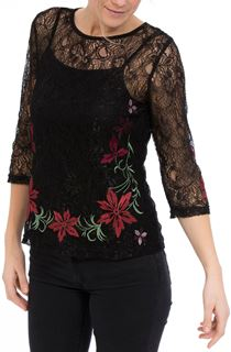 Embroidered Lace Round Neck Top