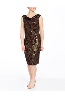 Sleeveless Foil Jacquard Midi Dress