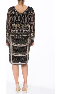 Long Sleeve Sequin And Bead Mesh Midi Dress