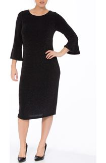 Flute Sleeve Multi-Colour Glitter Midi Dress