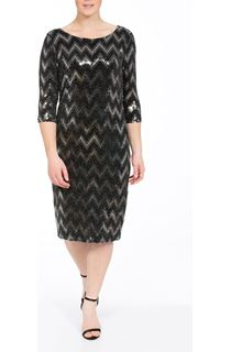 Spangle Chevron Fitted Midi dress