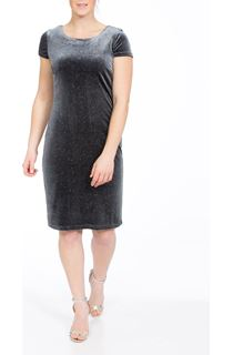 Cap Sleeve Velour Sparkle Midi Dress