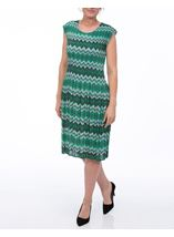 Pleated Zig Zag Print Midi Dress