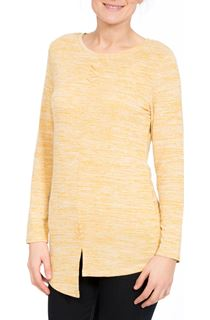 Long Sleeve Split Hem Knit Top - Yellow