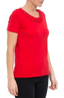 Anna Rose Short Sleeve Jersey Top - Red