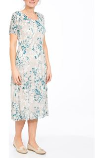 Anna Rose Short Sleeve Chiffon Pleat Midi Dress