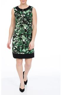 Sleeveless Leaf Print Jersey Midi Dress