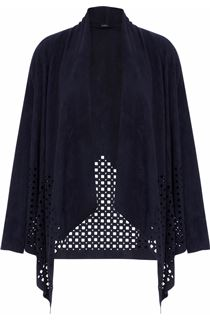 Suedette Laser Cut Open Cardigan - Blue