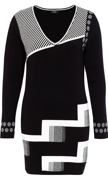 Monochrome V Neck Knitted Longline Top
