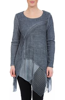 Long Sleeve Layered Hanky Hem Tunic