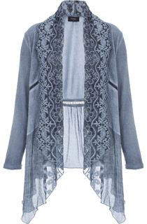 Long Sleeve Lace Trim Knit Cardigan