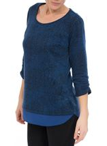 Georgette Trim Round Neck Knit Top