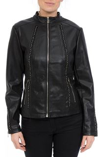 Faux Leather Embellished Zip Jacket