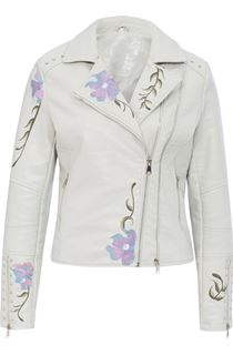 Embroidered Faux Leather Biker Jacket - Grey Melange