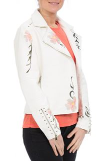 Embroidered Faux Leather Biker Jacket - Ivory