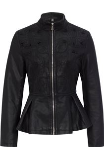 Faux Leather Embroidered Peplum Jacket