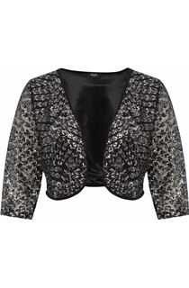 Embellished Lined Mesh Open Jacket