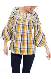 Lace Trimmed Bell Sleeve Check Top