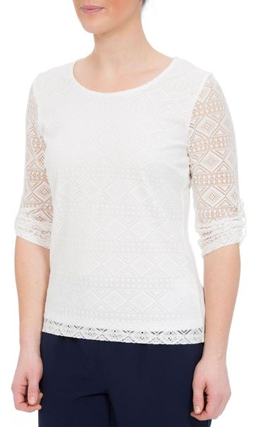 Anna Rose Tab Sleeve Lace And Jersey Top