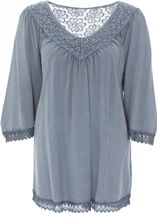 Washed Lace Trim Loose Top