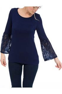 Lace Bell Sleeve Jersey Top