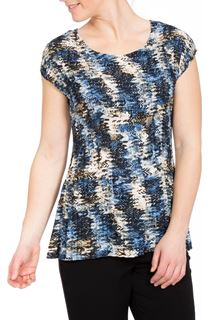 Printed Pleat Short Sleeve Top