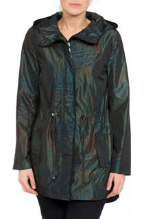 Metallic Leaf Printed Hooded Coat