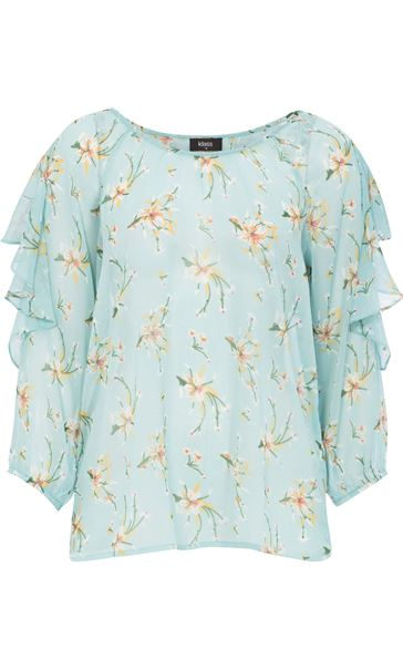 Floral Crinkle Georgette Cold Shoulder Frill Top