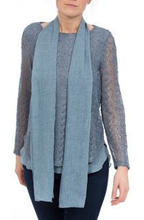Layered Long Sleeve Scarf Top - Midnight