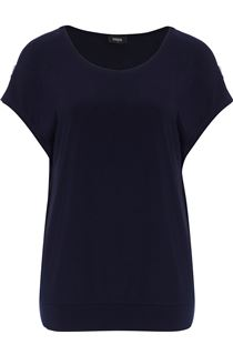 Short Sleeve Cold Shoulders Jersey Top - Midnight