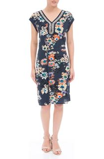 Bouquet Printed Embellished Midi Dress