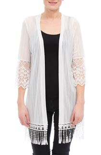 Tassel Hem Open Front Cover Up - Ivory