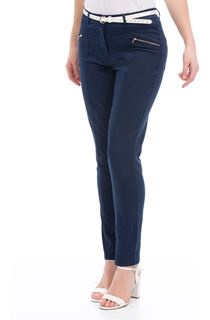Belted Slimline Stretch Trousers - Blue