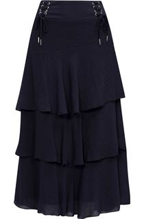 Layered Bias Cut Skirt - Blue