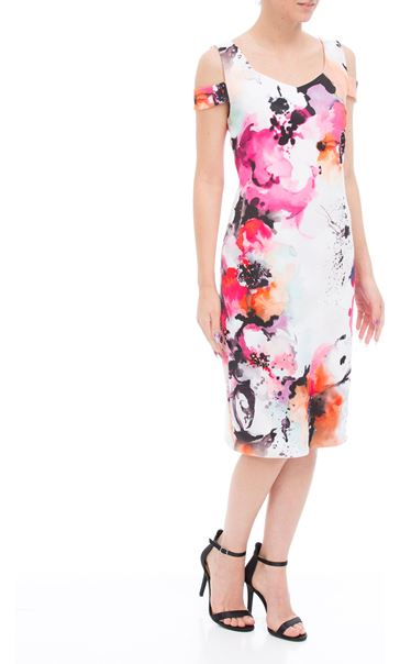 Cold Shoulder Printed Midi Suba Dress