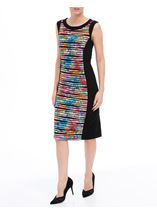 Textured Printed Panel Fitted Midi Dress