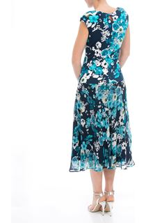 Anna Rose Botanical Printed Jersey And Chiffon Dress