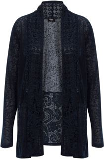 Long Sleeve Lace Trimmed Open Cardigan - Midnight